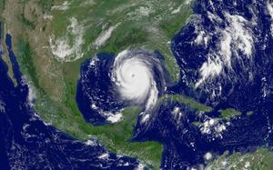 Hurricane Katrina in the Gulf of Mexico on August 28, 2005.  The images was taken by NOAA�s Geostationary Operational Environmental Satellite (GOES).