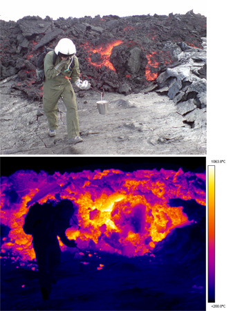 Lava flow sampling and thermal image
